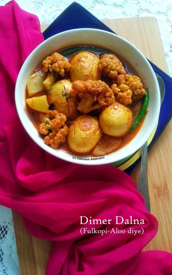 Dimer Dalna Fulkopi Aloo diye (Egg Curry with Cauliflower andPotato)