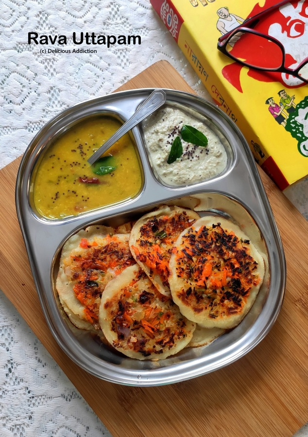 Rava Uttapam (South Indian Style Semolina Pancake withVegetables)