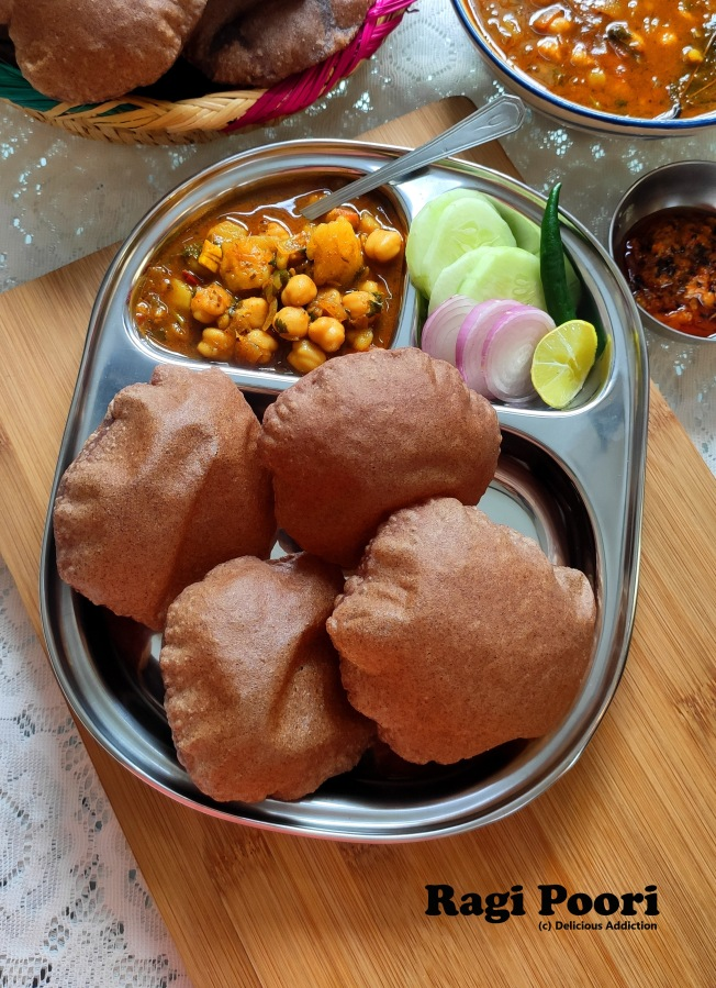 Ragi Poori (Indian Puffed Bread made from Finger MilletFlour)