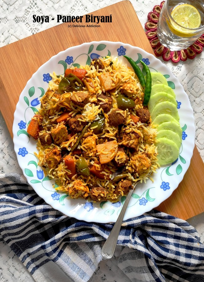 Soya-Paneer Biryani (One-Pot Rice Dish with Soya Nuggets and Indian CottageCheese)