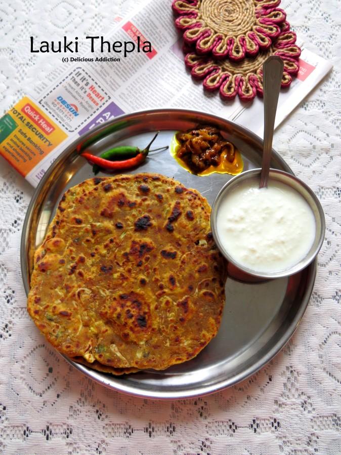Lauki / Dudhi Thepla (Indian Flat Bread with BottleGourd)