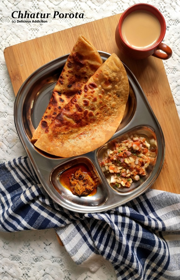 Chhatur Porota (Roasted Gram Flour Stuffed Indian FriedBread)