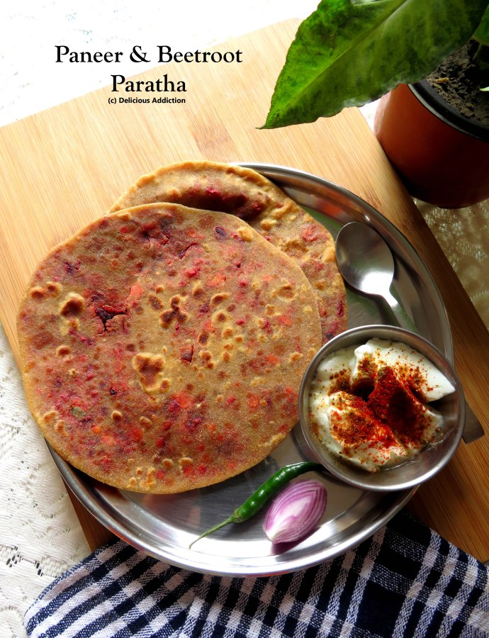 Paneer & Beetroot Paratha (Indian Flat Bread with Beetroot & Indian Cottage CheeseStuffing)