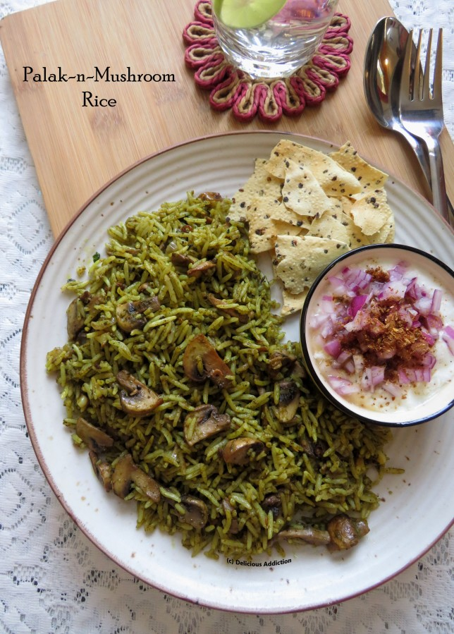 Palak-n-Mushroom Rice