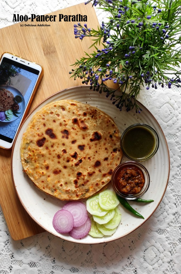 Aloo-Paneer Paratha (Indian Flat Bread with Potato and Indian Cottage CheeseFilling)